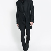 FAUX LEATHER OVERCOAT