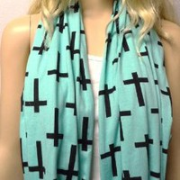 Mint Green & Black Crosses Infinity Scarf Soft Jersey Knit