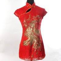 Shanghai Tone® Chinese Asian Women's Phoenix Lace Sexy Satin Long Shirt Top Jacket Blouse Red Available Sizes: 0, 2, 4, 6, 8, 10, 12