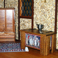 Tudor Blanket Chest, Medieval Dollhouse Miniature 1/12 Scale, Hand Made in the USA