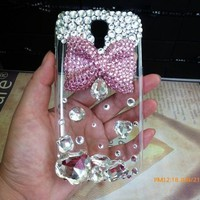 3D Pink Bow Bling Crystal Rhinestone Case Cover For Samsung Galaxy S4 IV i9500