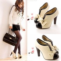 2013 HOT WOMEN SEXY HIGH HEEL BEIGE TIE FASHION ANKLE SHOES US5-9