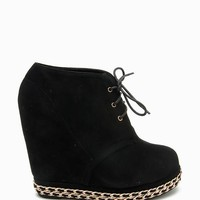 Camilla 79 Double Chain Trim Fx Suede Wedge Boot