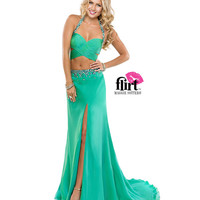 Flirt by Maggie Sottero 2014 Prom Dresses-Blue Kiwi Two Piece Chiffon Halter Dress