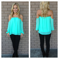 Mint Off Shoulder 3/4 Sleeve Blouse