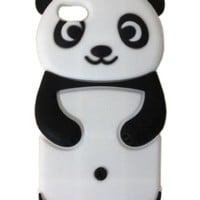 3D Cartoon Lovely Panda Silicone Jelly Skin Case Cover for Apple iPhone 5C (Black)