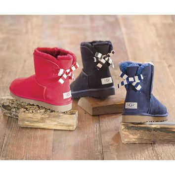 UGG® Australia Women's Mini Bailey Bow Stripe Boot - Plow & Hearth