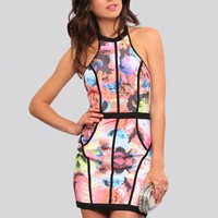 ELECTRIC ROSE BODYCON DRESS