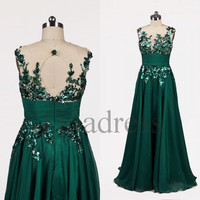 Custom Grass Green Applique Long Prom Dresses Backless Evening Dresses Party Dress Homecoming Dresses Wedding Party Dress Bridesmaid Dresses