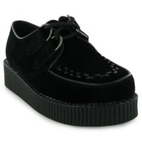 77S Womens Black Platform Ladies Lace Up Creepers Punk Goth Flat Shoes Boots Size 8 US