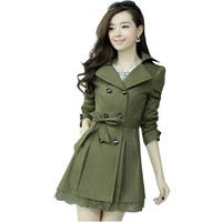 Fashion Womens Spring Double Breasted Lace Hem Slim Trench Coat Long Outerwear