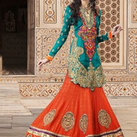 Amazing Look Greenish Blue & Orange Embroidered Salwar Kameez Dress - Offers
