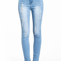 HIGH WAISTED SHREDDED JEANS