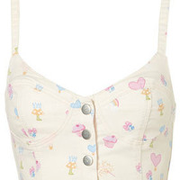 MOTO Trinket Print Denim Bralet - Tops - New In This Week  - New In - Topshop USA
