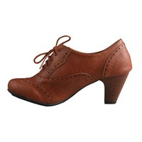 REFRESH AMANY-01 Women's Cuban heel Ankle booties Oxfords