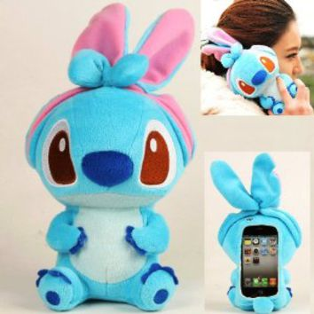Authentic Plush Toy Case for iPhone 4 iTouch 4 iPhone 5 itouch 5 iPad Mini Samsung Galaxy i9300 i9100 HTC OneX + A Special Washing Bag as Gift (iTouch 5, Blue Stitch)