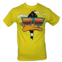 Looney Tunes Mens T-Shirt - Daffy the Duck Cool Shades Face (Small) Yellow