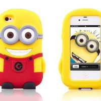 OKEBUY's Despicable Me 3D Cartoon Minions Pattern Soft Silicone Gel Rubber Case Skin Protector Cover for Iphone 4/4S--Red