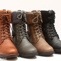 Women's Cute  Zipper Round Toe Low Heel Military Lace Up Mid Calf Boot Shoes