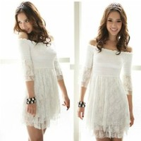 Group@ Free Everyday Style Elegant Lace Dresses Top White