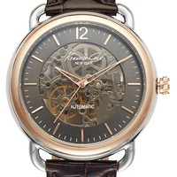Kenneth Cole New York Automatic Leather Strap Watch, 43mm | Nordstrom