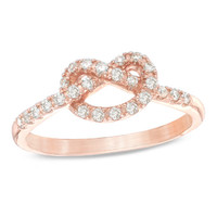 1/5 CT. T.W. Diamond Heart-Shaped Knot Promise Ring in 10K Rose Gold