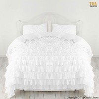 BEAUTIFUL Waterfall Ruffle Duvet Set 800TC Egyptian Cotton Bedding King White