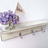 Custom shelf wood Vintage White cottage shabby chic hooks