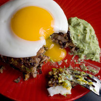 Black Bean Cakes with Fried Eggs and Avocado Crema Recipe - CHOW