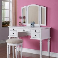 Vanity and Stool Set with Foldout Mirror in White Finish
