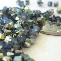 4mm Swarovski Crystal 5301 Bicone Beads White Opal Starshine | thebeadstylist - Jewelry Supplies on ArtFire