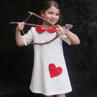 The Sofia Dress - Girls Dress in White with Red Velvet Heart and Peter Pan Collar - Valentines Day Kids Fashion (Ready to Ship Size 5-6T)
