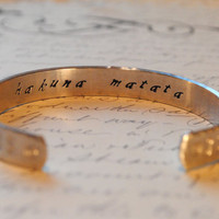 Hakuna Matata Secret Message Hand Stamped Cuff by BerkeyDesigns