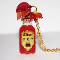 Elixir of Life Potion Glass Bottle Pendant Necklace. Harry Potter