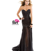 (PRE-ORDER) Flirt by Maggie Sottero 2014 Prom Dresses-Black Strapless Tulle Dress with Sequin Lace