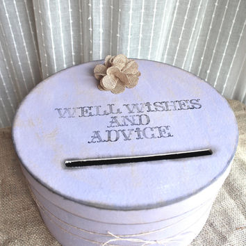 Rustic Wedding Card Box with Burlap Flower - Custom Color Options