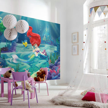 Photo wall mural photography from artdivine4u on wanelo for Disney ariel wall mural
