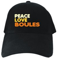 PEACE , LOVE AND Boules Black Baseball Cap Unisex