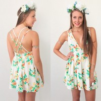 NEON FLORAL PRINTS PLUNGING BACKLESS CRISS CROSS BACK SKATER DRESS 6 8 10 12