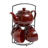 Red Stoneware Teapot Set