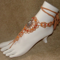 Barefoot Sandals Cinn with Turtle Charm & by gilmoreproducts33