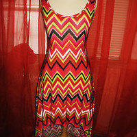 KOOP USA DRESS W ASYMMETRIC HEM GEOMETRIC PRINT!SIZE S-L!NEW !MADE IN USA