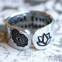 Truthful gentle and fearless secret message ring, with paisley and lotus flower, inspirational quote ring, lotus flower ring, yoga jewlery