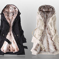 Women Warm Winter Coat Hood Parka Overcoat Long Jacket Outwear Coat With Belt