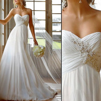 2013 New White / Ivory Beach Wedding Dresses Sexy Strapless Applique Sweetheart Chiffon Bride Sheath Beach Wedding Dress customed by hand
