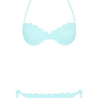PALE BLUE SCALLOP BIKINI SET