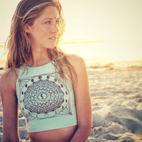 Black MOON Lilith Mandala Fitted Crop Tank