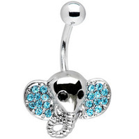 gem elephant Belly button Ring Silver pierced piercing Accessary 316L medical stainless steel Hypoallergenic navel ring nail