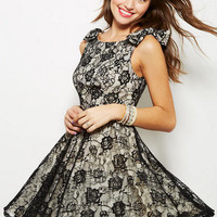 Bow Shoulder Lace Dress