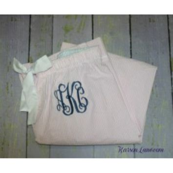 Seersucker Monogrammed Pajamas Pants - Shop for Seersucker Monogrammed Pajamas Pants at Karson Lane